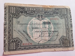 Billete 100 Pesetas. 1937. Bilbao. República Española. Guerra Civil. Sin Serie. Banco De Bilbao - [ 2] 1931-1936 : Repubblica
