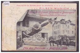 DISTRICT DE VEVEY - MONTREUX - FETE DES NARCISSES 1902 - PUBLICITE BIERE PILSEN MUNICH - ATTELAGE - TB - VD Vaud