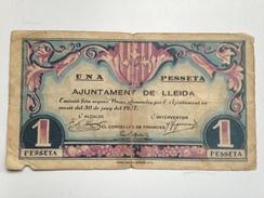 Billete 1 Peseta 1937. Lleida Lérida, Cataluña. República Española. Guerra Civil. Sin Serie - 1-2 Pesetas