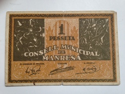 Billete 1 Peseta 1936-1939. Manresa, Barcelona, Cataluña. República Española. Guerra Civil - [ 2] 1931-1936 : Repubblica