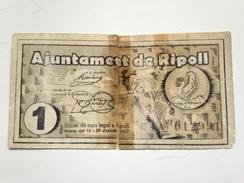 Billete 1 Peseta 1937. Ripoll, Girona, Cataluña. República Española. Guerra Civil. Sin Serie - 1-2 Pesetas