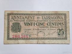 Billete 25 Céntimos 1937. Tarragona, Cataluña. República Española. Guerra Civil - [ 2] 1931-1936 : República