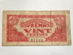Billete 20 Céntimos 1936-1939. Tremp, Lleida, Lérida, Cataluña. República Española. Guerra Civil. Sin Serie - [ 2] 1931-1936 : República
