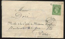 N°20 Seul + étoile 1 /imprimé De La Société De Médecine Légale De Paris Pour Paris - 1862 Napoleon III