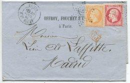 N°23 + 24 + étoile 24 / Lettre 3° échelon De Paris Pour Madrid (Espagne) - 1862 Napoleon III