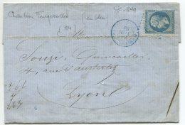 N°22 + GC Bleu 849/ Lettre De Chambon Feugerolles (loire) Pour Lyon - 1862 Napoleon III