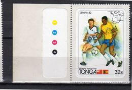 Tonga Sticker Stamp Espana 82 World Games Football SPECIMEN 32 S (t10) - Tonga (1970-...)