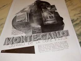 ANCIENNE PUBLICITE JOYAU DE LA COTE D AZUR MONTE-CARLO 1930 - Publicité