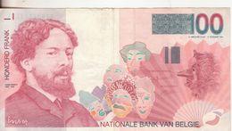 9-Belgio-Cartamoneta-Banconota Circolata 100 Frank-Stato Di Conservazione:Buono. - [ 2] 1831-... : Regno Del Belgio