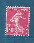 France Type Semeuse Camée N°196 1F40 Rose Neuf * Petite Trace De Charnière Cote 25 €vendu A 15% - 1906-38 Semeuse Camée