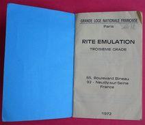 Livret Rite Emulation 3ème Grade Maître GLNF1972 édit PIUF Paris 182 Pages Franc-maçonnerie Freemason 13.3x8.5cms - Esotérisme
