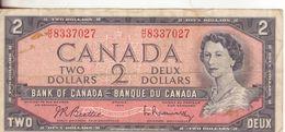 18-Canada-Cartamoneta-Banconota Circolata 2 Dollars-Stato Di Conservazione:Mediocre - Canada