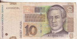37-Croazia-Cartamoneta-Banconota Circolata 10 Kuna-Stato Di Conservazione:Mediocre - Croatie