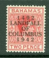 Bahamas: 1942   450th Anniv Of Landing Of Columbus OVPT    SG165    2d   MH - Bahamas (...-1973)