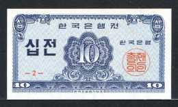 353-Corée Du Sud Billet De 10 Jeon 1962 - 2 Neuf - Corée Du Sud