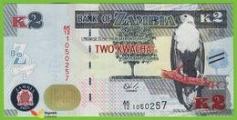 Voyo ZAMBIA 2 Kwacha 2015 P56 B159a UNC Prefix AK/12 Fish Eagle - Zambie