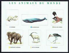 12 Stickers Représentant Des Animaux - Séries 7 Et 8 - Baleine, Piranha, éléphant, Jaguar, Oryx, Gavial, Okapi, Geai,.. - Vieux Papiers