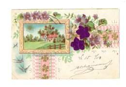Maison Dans Cadre - Fleurs Violettes En Relief - Gaufré - 2419 - Otros