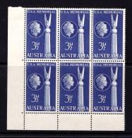 Australia 1955 American Friendship - USA Memorial Corner Block Of 6 MNH - Mint Stamps