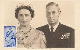 D30741 CARTE MAXIMUM CARD 1949 SEYCHELLES - ROYAL COUPLE - KING GEORGE QUEEN ELIZABETH CP ORIGINAL - Familles Royales
