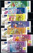 EURO Set, 5 - 500 €, Billet Scolaire, Edukativ-Geld, Paper Set EUROS, Size 136 X 60 Mm,  RRR, UNC, Uniface - EURO