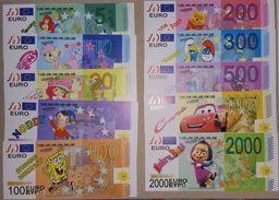 EURO Set, 5 - 2000 € = 10 Pces., Billet Scolaire, Edukativ-Geld, Paper Set EUROS, Size 136 X 60 Mm,  RRR, UNC, Unif - EURO