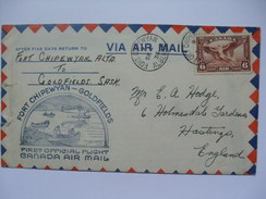 CANADA 1935 FIRST FLIGHT COVER - Fort Chipewyan To Goldfields Sask. - 1911-1935 George V