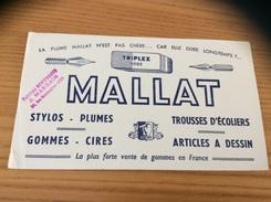 "Buvard ""MALLAT (gommes) - PAPETERIE MONTESQUIEU J. MARGAIN LYON"" - Stationeries (flat Articles)"
