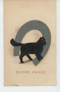 """CHATS - CAT - Jolie Carte Fantaisie Avec Fer à Cheval Et Chat En Feutrine De """"Bonne Année """" - Cats"""
