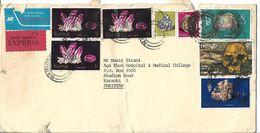 Kenya Airmail 1982 Homo Erectus,1977 Amethyst, Fossilized Wood, Selenite, Galena, Aquamari Minerals,  Cover - Archeologia