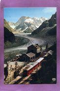 74 CHAMONIX MONT BLANC Le Train Et La Gare Du Montenvers La Mer De Glace Et Les Grandes Jorasses - Chamonix-Mont-Blanc