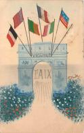 Militaria - Patriotique WW1 - Victoire, Paix, Drapeaux Des Pays Alliés En Tissu, Carte Peinte Par Boitley ? - Patrióticos