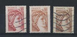 FRANCE - SABINE 0,10  2 TEINTES DIFFÉRENTES + UN TRUQUAGE CHIMIQUE - N°Yt 1965 Oblitéré - 1977-81 Sabine (Gandon)