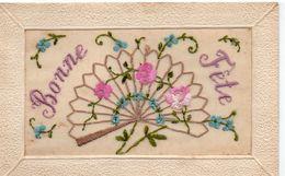 "Fantaisie Belle Carte Brodée ""Bonne Fête"" - Embroidered"