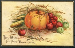 1908 USA Pumpkin, Thanksgiving Embossed Postcard Schenectady NY - York, GB Via Liverpool Postage Due Taxe Handstamp - United States