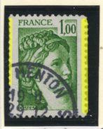 "FRANCE -  SABINE 1,00; BARRE DE PHOSPHO DÉCALÉE SUR DENTS = ""2PHO"" - N°Yt 1973 Obli.  TB   CONNAIT PAS EN NEUF ? - 1977-81 Sabine (Gandon)"