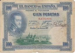 BILLETE DE ESPAÑA DE 100 PTAS DEL AÑO 1925 SIN SERIE   (BANKNOTE) - [ 1] …-1931 : First Banknotes (Banco De España)