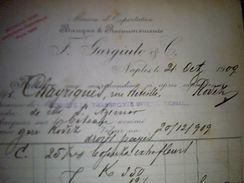 Vieux Papier  Lettre A Entete Banque Et Recouvrements Maison D Exportation Garigudo A Naples Italie Annee 1909 - Italia