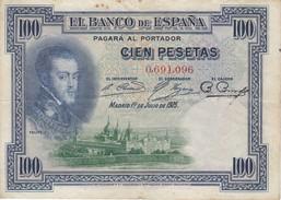 BILLETE DE ESPAÑA DE 100 PTAS DEL AÑO 1925 SIN SERIE CON SELLO SECO GOBIERNO PROVISIONAL DE LA REPUBLICA  (BANKNOTE) - [ 1] …-1931 : First Banknotes (Banco De España)