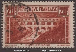 20Fr Pont Du Gard Oblitéré  TB (Y&T N° 262A , Type I, Cote 45€) - France