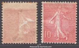 Impression Recto-verso Sur 10c Semeuse Neuf * TB Signé CALVES (Y&T N° 129e , Cote: +++€) - 1903-60 Semeuse Lignée