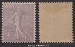 30c Semeuse Lignée Neuf * TB Et Bien Centré (Y&T N° 133, Cote: 200€) - 1906-38 Sower - Cameo