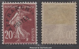Préo 20c Semeuse Lilas-brun Neuf * TB (Y&T N° 54 , Cote  85€) - 1893-1947