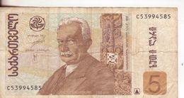 22-Georgia-Cartamoneta-Banconota Circolata 5 Lari-Stato Di Conservazione:Mediocre - Georgia