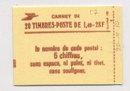 FRANCE - SABINE 1,40 CARNET DE 20 Tp G. BRIL. DATÉ 20/11/80 (CONF8)  - N°Yt 2102-C7**  TB   FERMÉ - 1977-81 Sabine Van Gandon