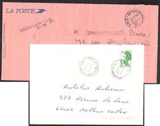 FRANCE '62 ELEU DIT LEAUWETTE G.A.'  1989/93  2 MARQUES POSTALES Et OBLITERATION - Marcophilie (Lettres)