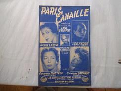 PARIS CANAILLE PAROLES ET MUSIQUE DE LEO FERRE 1953 - Partitions Musicales Anciennes