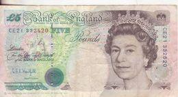 35-Inghilterra-Regno Unito-Cartamoneta-Banconota Circolata 5 Sterline-Stato Di Conservazione: Mediocre - 1952-… : Elizabeth II