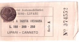 TICKET BUS BIGLIETTO AUTOBUS LIPARI SICILIA ITALIA ANNI 60-70 - Bus