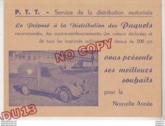 Au Plus Rapide Carte Voeux Années 50 PTT Service Distribution Motorisée Fourgonnette Postes Citroën 2 Cv Excellent état - Cartes